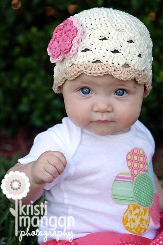 0-6 Month Crochet Beanie With Flower -  eggshell, beige, pastel pink, rose pink
