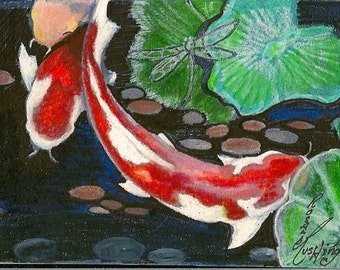 Koi Fish Pond ACEO Card OOAK Original By Rushing