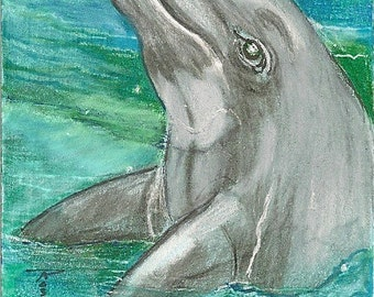 Dolphin ACEO Card OOAK Original by Rushing