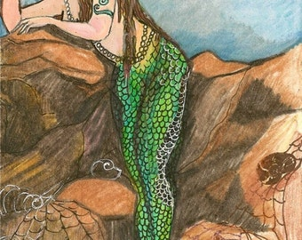 Mermaid Fantasy Original Artwork by Rosalie Rushing