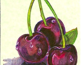 ACEO Card Cherrys Original by Rushing