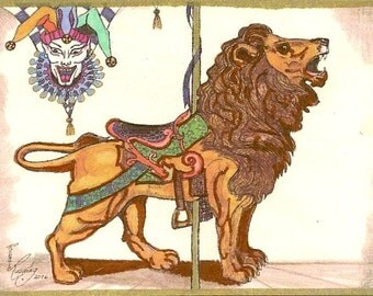 ACEO Card Jester and Carousel Lion Limited Edition by Rushing