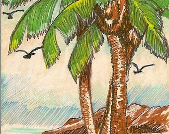 Palm Trees ACEO Card Original Artwork by Rosalie Rushing