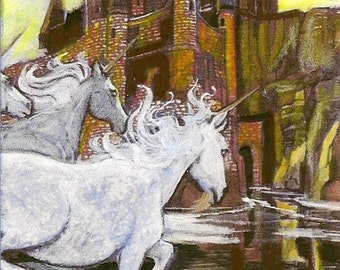 Unicorn and Castle ACEO Card OOAK Original by Rushing