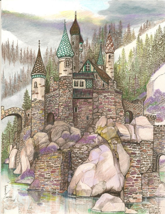 Castle Medieval Towers Fantasy Gothic Stone Kingdoms Original Artwork by Rushing