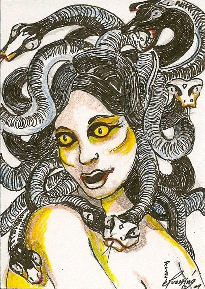 Medusa Gorgon sister Greek Mythology OOAK ACEO Card by Rushing | 711 x 1000 jpeg 258kB