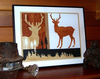 gifts, decor, Elk collage, antlers, woodland, original mixed media forest collage