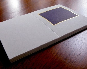 25 DIY Cards with Gold Foil, greetings, invitations 6 x 9 lithographed in purple and scored