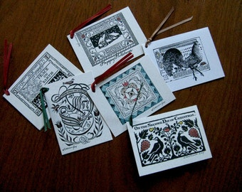 Holiday Gift Tags, folded and hand painted, party favors, place settings, assortment of 6 designs