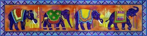 Poster, Decorated Indian Elephants in a colorful landscape, Elephant Parade, one left