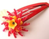 Red and Yellow Vintage Flowers Barrette