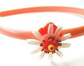 Orange and White Vintage Flowers Headband