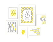 Nursery Wall Art Print Set - Yellow and Gray - 11x14, 8x10, and 5x7 Collection of Grey and Yellow Kids Artwork