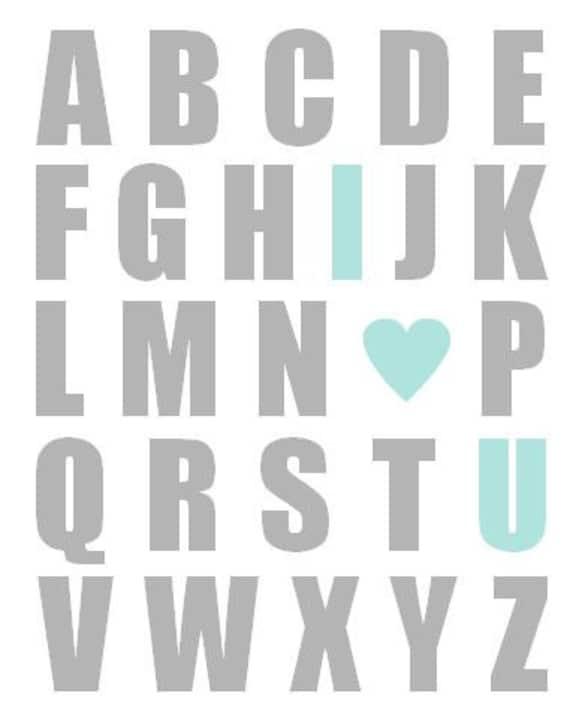 I Love You Alphabet Nursery Art Print - Aqua and Gray - Alphabet I Love You Baby Wall Art Nursery Decor 11 x 14