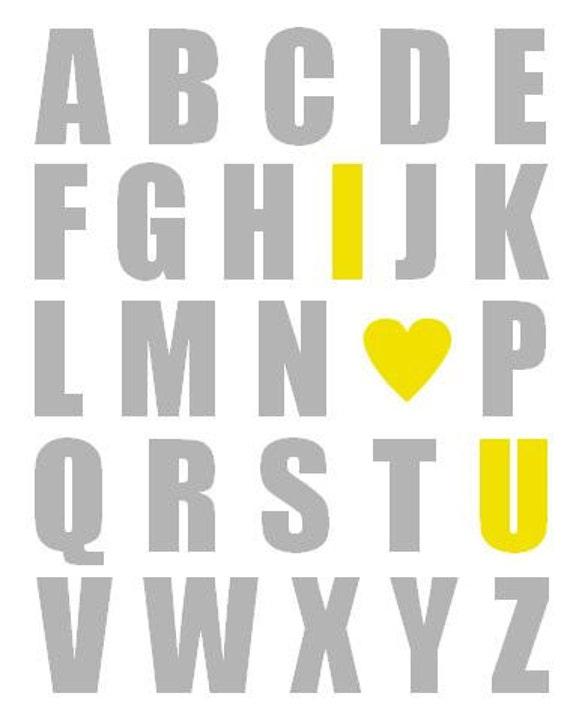 Yellow and Gray Nursery Art Print, Alphabet Print, Baby Nursery Decor, Baby Room Decor, Alphabet Art, Alphabet Poster I Love You 8x10