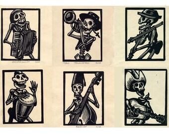 Any Six Calavera Skeleton Band Prints