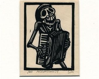 Calavera Skeleton Accordionist original print