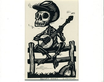 "Skeleton Calavera Banjo ""Banjer Bones"" Card matted and ready to frame"