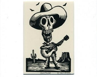 Skeleton Cowboy Cowpoke Card matted and ready to frame