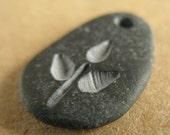 tiny leafy twig pebble pendant