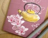 Tea ceremony greeting card - blank inside - for her - floral illustrated notecard - recycled envelope - compostable packaging