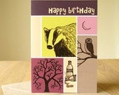 Great outdoors birthday card for him or for her - owl badger tree - recycled envelope - compostable packaging
