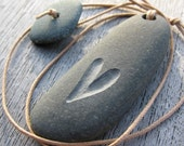 heart pebble necklace with pebble toggle