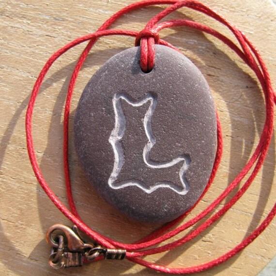 Monogram L beach pebble necklace