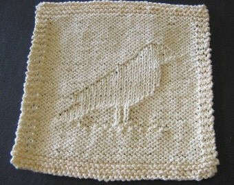 Pattern for Knitted Crow Face or Dish Cloth