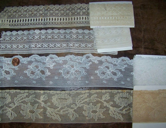 VINTAGE  Wide Lace Group Ydg. French Heirloom Sewing Edging and Beading