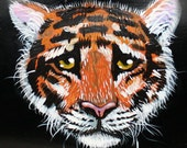 Tiger purse siberian OOAK sad kitty cat handpainted