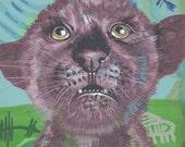 baby Jaguar original painting petroglyphs OOAK