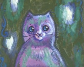 Purple cat with ghosts portrait acrylic on canvas