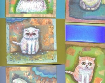 Worried cat postcard set of 5 rain,blue,exotic shorthair, allergies,depression