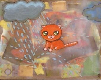 Postcard orange kitty big head rain teal green ginger