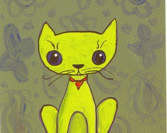 postcard wallpaper cat olive chartruse cat toy mouse