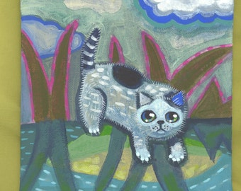 Swamp kitty  original acrylic painting cat nighttime water