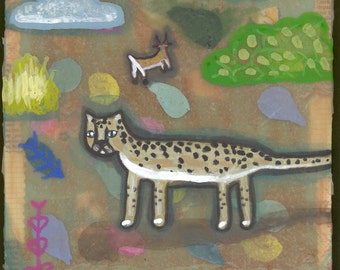 Cheetah on the African plains acrylic painting OOAK
