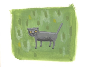 All cats are grey OOAK painting