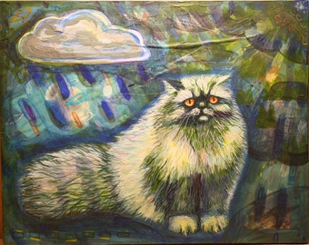 Original acrylic painting Persian cat in the rain  blue mixed media