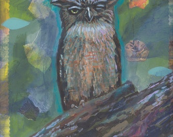 Owl at night original painting blue moon forest wise moonlight