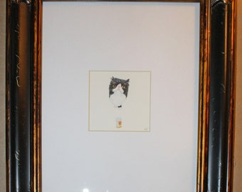 "Bicolor kitty original drawing framed 8""x10"""