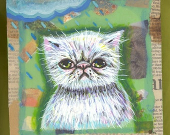 sad kitty collage painting OOAK smoosh smush face white lime green