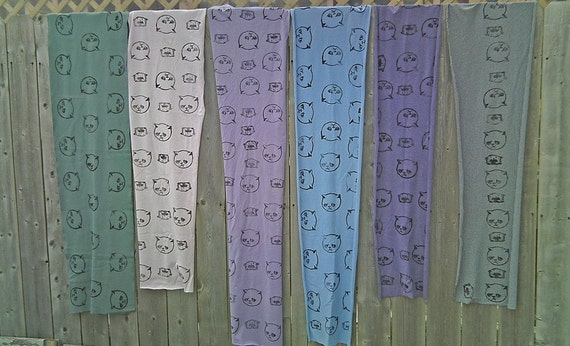 Hand printed jersey cotton scarf cat kitty warm sad