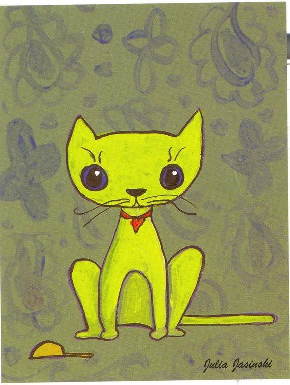 postcard wallpaper cat olive chartruse cat toy mouse