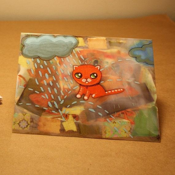 Folded cards set of 5 orange kitty cat collage