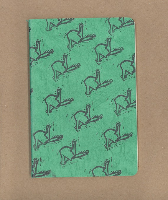 Hand stamped cat cleaning crotch notebook like moleskin green
