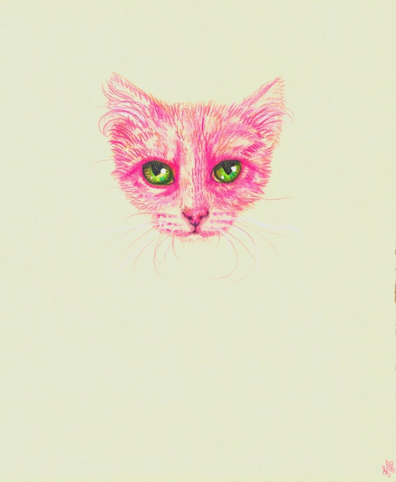 Pink worry cat portrait Not a print  ORIGINAL