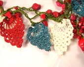 Crochet Necklace Needle Lace Red White Blue Patriotic Oya Flowers SALE