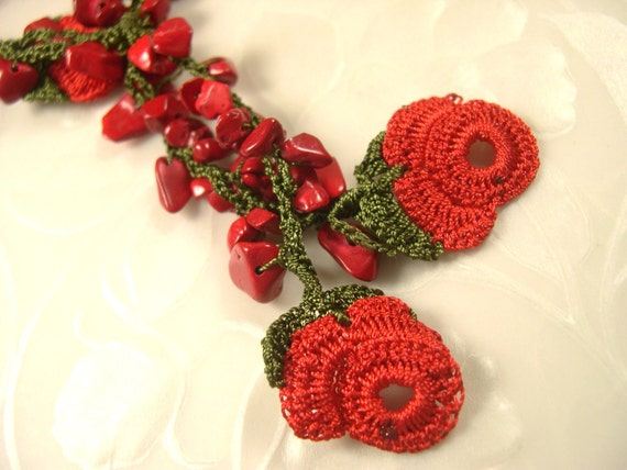Crochet Roses Lace Flowers Red Necklace SALE